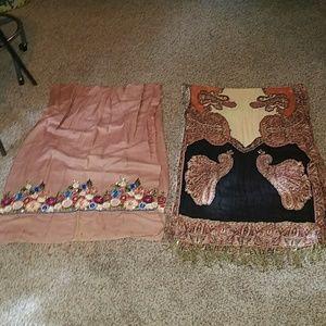 4 large vintage scarves/ shawls/ wraps